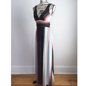 Multicolored striped summer maxi dress